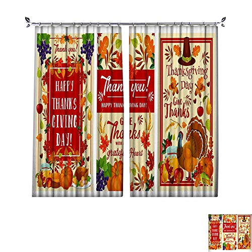 Patterned Drape for Glass Door Thanksgiving Day Holiday Greeting Banner Design W108 x L96 ()