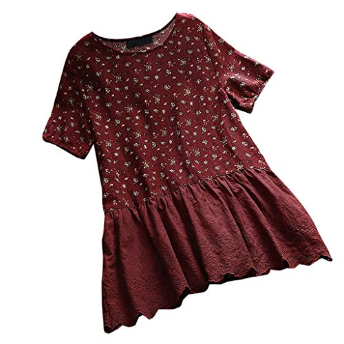 JOFOW Blouses Womens Babydoll Short Sleeve Cotton Linen Floral Flowers Print Patchwork Lace Solid O Neck Loose Dress Shirts (4XL,Dark)