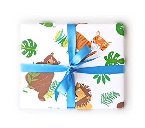 Sea Urchin Studio Wrapping Paper with Lions Tigers Bears Gift Wrap - wrapping paper for boys and girls by Sea Urchin Studio