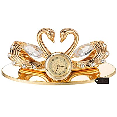 Matashi 24K Gold Plated Loving Swans Figurine Clock | Table Top Ornament for Home, Office or Bedroom Decor | Best Gift for Valentine's Day, Birthday, Mother's Day, Anniversary, Christmas
