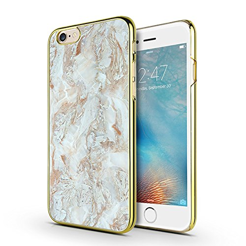 iPhone 6s Plus, iPhone 6 Plus Case, MOSNOVO Cool White Marble Design Printed Chrome Gold Hard Case for Apple iPhone 6 Plus 5.5 Inch