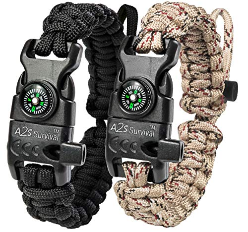 A2S Protection Paracord Bracelet K2-Peak - Survival Gear Kit with Embedded Compass, Fire Starter, Emergency Knife & Whistle (Black/Sand Camo Adjustable Size)