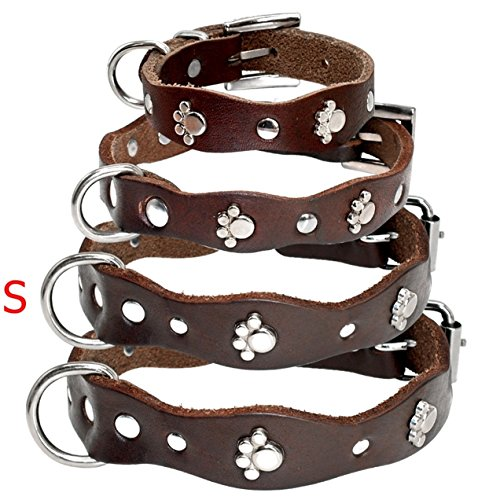 (GVGs Shop 1 Pack Soft Brown Leather Dog Collar Adjustable Chihuahua Pitbull Dogs Puppy Pet Elastic Bow Bell Tag Leading Popular Reflective Safety Breakaway Training Camo Kitten Cat Collars, Type-02)