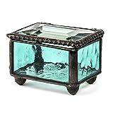 """J Devlin Box 325-3 Stained Glass Mini Jewelry Keepsake Ring Box Aquamarine Blue 2 1/8"""" x 1 3/4"""" x 1 1/2"""""""