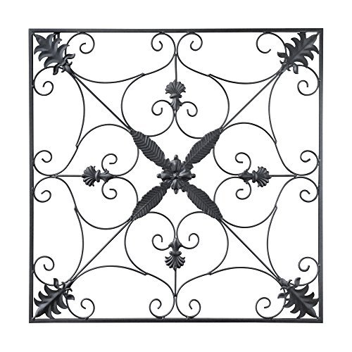 GB HOME COLLECTION gbHome GH-6776 Metal Wall Decor, Decorative Victorian Style Hanging Art, Steel Décor, Square Design, 29.5 x 29.5 Inches, Black
