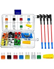 Car Blade Fuse Assortment - MuHize 70 Pcs Micro2 Fuses, 12V APT ATR Fuses and Holders Kit, 4 Add-a-Circuit Fuse Tap Adapters,Blade Fuses(5A 7.5A 10A 15A 20A 25A 30A) with Fuse Puller