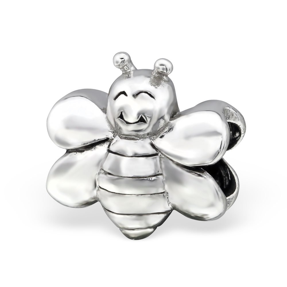The Rose & Silver Company Women 925 Sterling Silver Bee Shaped Bead Charm RS0402