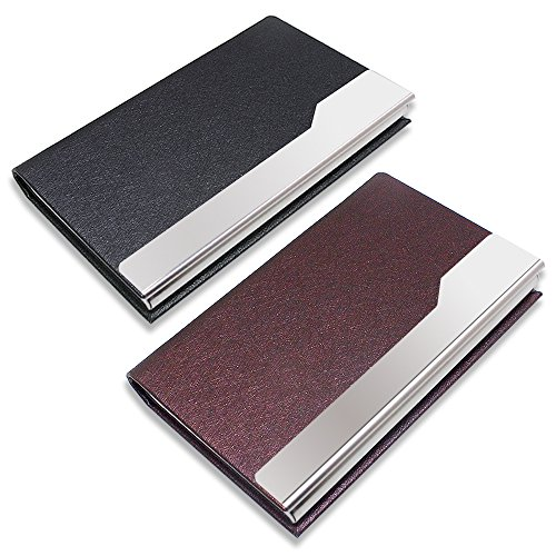SENHAI 2 Pcs Professional Business Card Holders, Stainless Steel PU leather Silking Card Case with Magnetic Shut for Men and Women - Black, Brown