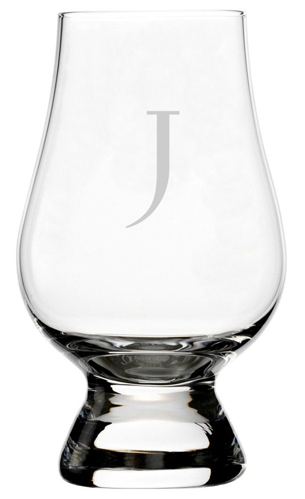 Celtic Etched Monogram Glencairn Crystal Whisky Glass (Letter J)