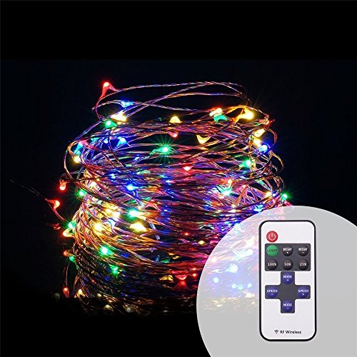 String Lights Dimmable, SOLLA Starry String Lights Remote Control USB Powered Copper Wire lights, Color 33ft 100 LEDs, Waterproof Fairy Lights Ambianc