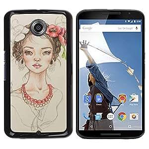 Caucho caso de Shell duro de la cubierta de accesorios de protección BY RAYDREAMMM - Motorola NEXUS 6 / X / Moto X Pro - Pearl Fashion Portrait Beige