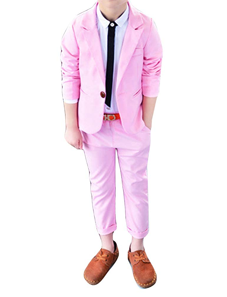 wenchuang Boy Spring and Autumn Stylish Solid Color Leisure Suit