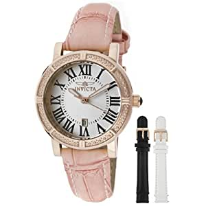 Invicta Women's 13969 Wildflower Watch Set Silver Dial Pink Leather Watch with 2 Additional Straps