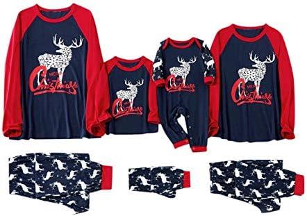 Conjuntos familiares Conjuntos a juego Letras clásicas de Feliz Navidad impresas Raglán rojo Camisetas de manga largaPantalones con estampado de alces