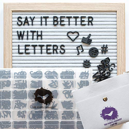 - Letter Board - White Felt Letter Board 10x10 with 340 Letters - Solid Oak Frame, Stand, Felt Bag, Scissors - for Home Decor, Offices & Cafes - Perfect for Special Occasions and Instaquotes