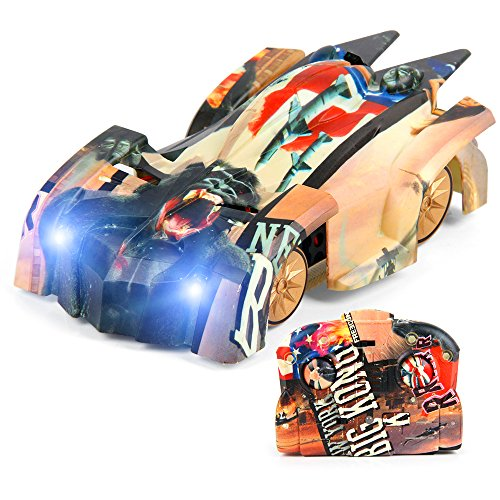 Climber Wall (Wall Climbing Remote Control Car - JTT-TOYS L900 Mini Graffiti Crawler Vehicle for Kids, Dual Mode 360° Rotating Stunt Car, Head and Rear LED Lights,Infrared Control Car with USB Cable)
