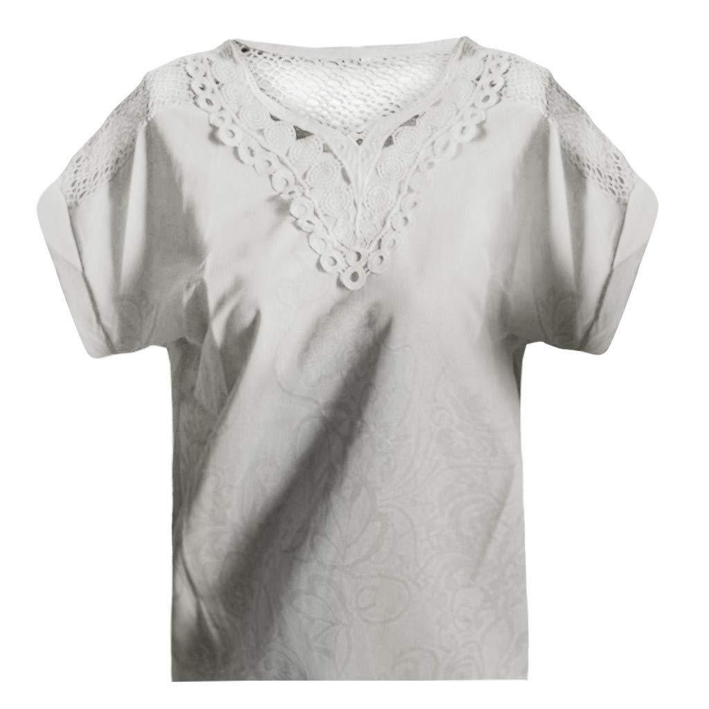 Dorical Blusa para Mujer Camiseta De Moda De Verano Casual Suelta Simple Slim Fit Color S/ólido Encaje De Punto Tops Camisa De Manga Corta
