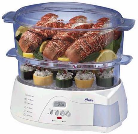 Oster 5712 Vaporizador de alimentos electrónico de 2 niveles y 6.1 cuartos