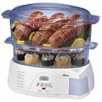 Oster 5712 Electronic 2-Tier 6.1-Quart Food Steamer, White