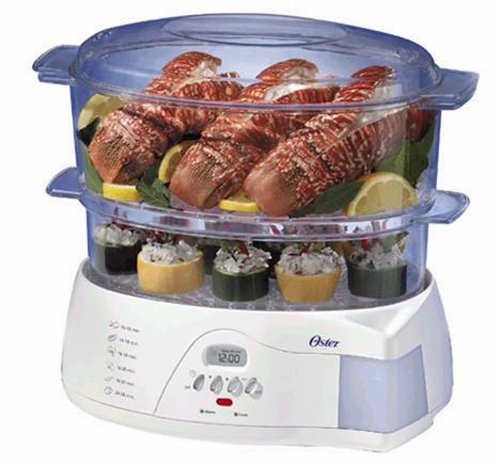 Oster 5712 Electronic 2-Tier 6.1-Quart Food Steamer, White by Oster
