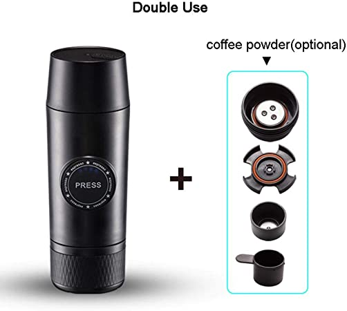 Cafetera eléctrica portátil Mini cafetera espresso Cafetera de presión a mano Cápsula de café exprés Máquina de presionar Inicio Viaje, cápsula + polvo: Amazon.es: Hogar