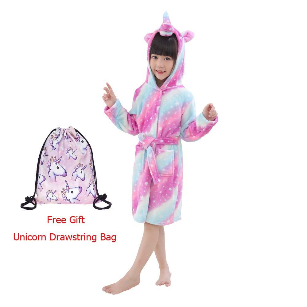 LANTOP Unicorn Bathrobe Kid Flannel Hooded Robe Soft All Seasons Sleepwear Unisex Loungewear Gift
