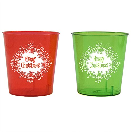 Shot Glasses For Christmas - 1 Ounce - Durable Plastic - 24