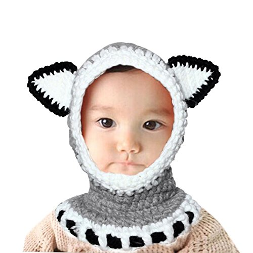 Winter Wool Knitted Earflap Hat Scarf Hood Scarves Baby Girls Cowl Beanie Caps (Gray)