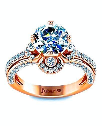 1.68 Tcw Halo Round Diamond Engagement Ring Rose Gold Classic Custom Clover Split Triple Shank Micro-Pave Designer Fine Jewelry