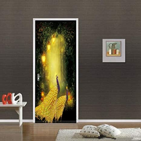 Home & Kitchen FLFK 3D Fantasy Forest Peacock Door Wall Sticker Photo PVC Waterproof Wall Mural Home Room Decoration 30.3x78.7