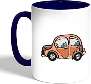 Printed Coffee Mug, Blue Color, car