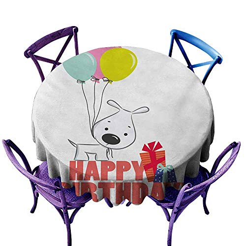 Resistant Table Cover,Kids Birthday Cartoon Sketchy Dog Image with Colorful Balloons and Boxes Animal Fun Print,High-end Durable Creative Home,50 INCH,Multicolor