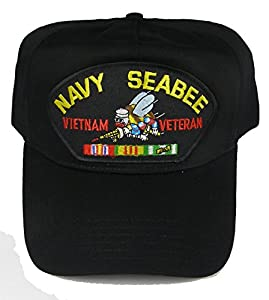 NAVY SEABEE VIETNAM VETERAN with BEE and SERVICE RIBBONS HAT - Black - Veteran Owned Business