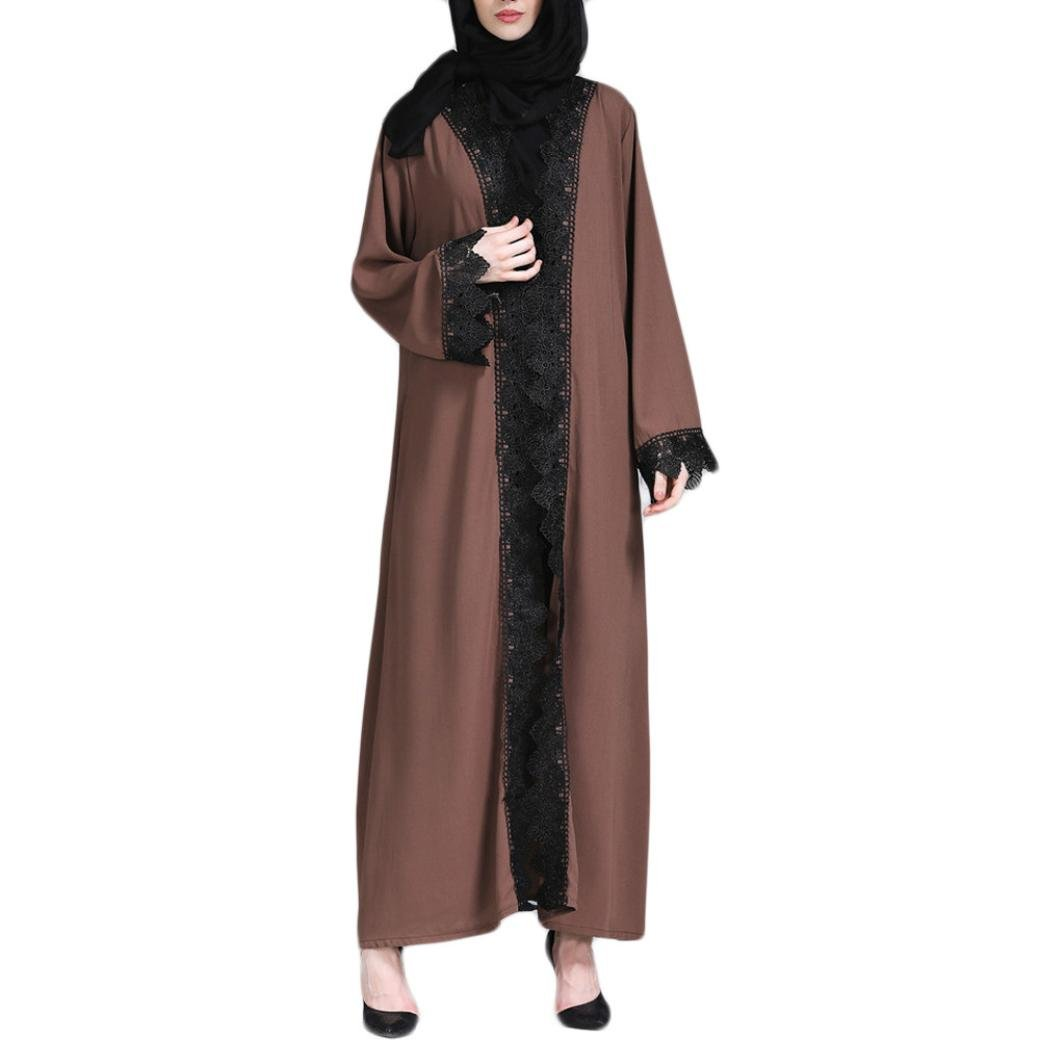 Spbamboo Muslim Women Kimono Islamic Nailed Flower Long Coat Middle East Long Robe by Spbamboo