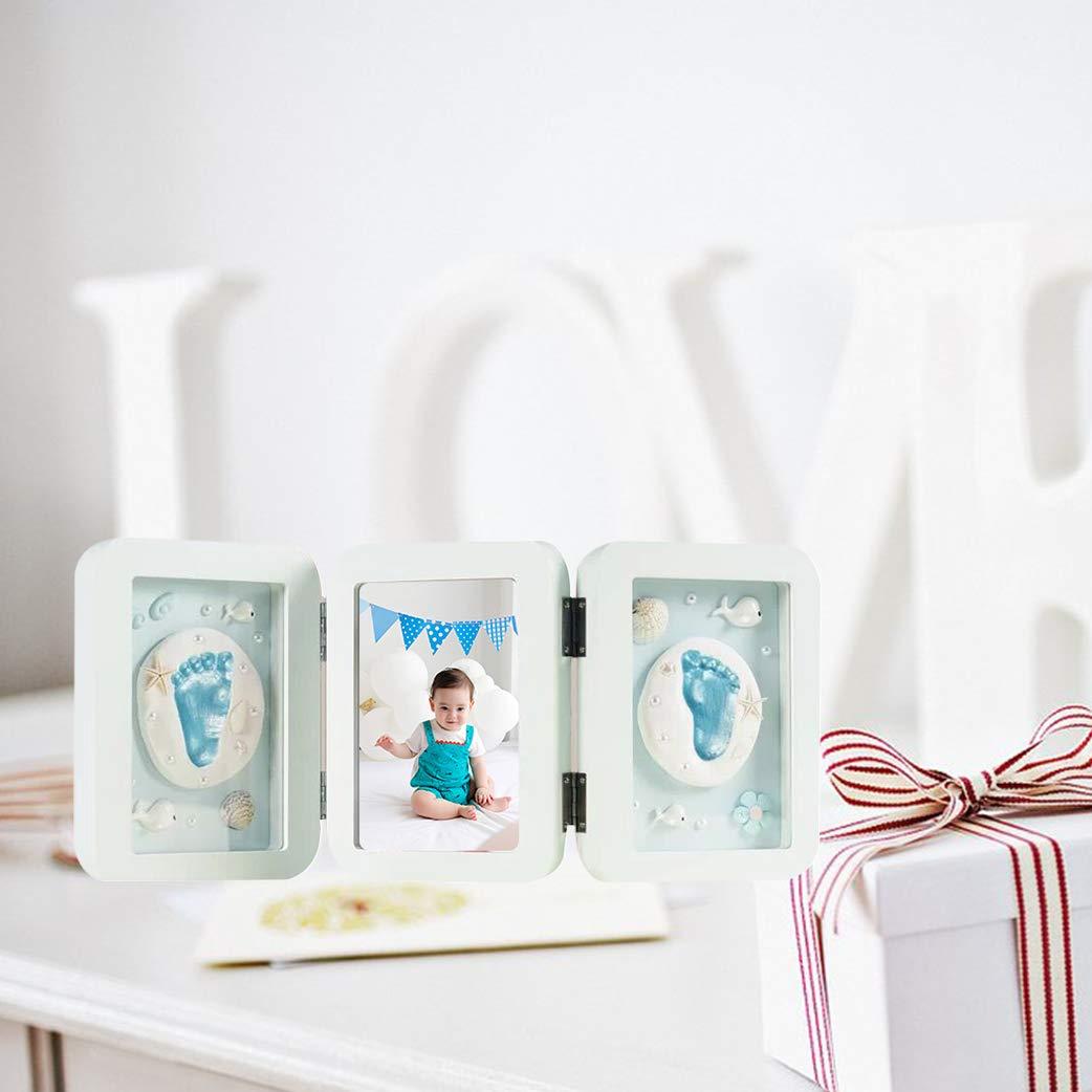 BabyBB Huella de mano y pie de beb/é Marco de foto de Madera Regalo memorable Kit de arcilla de recuerdo para beb/é reci/én nacido hembra o var/ón Azul