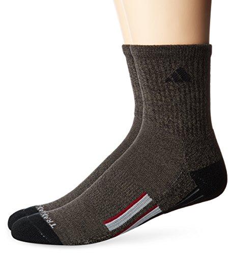 adidas Men's Climalite X II Mid Crew Socks (2-Pack), Black Graphite Marl/Black/Light Onix/Collegiate Burgundy, ()