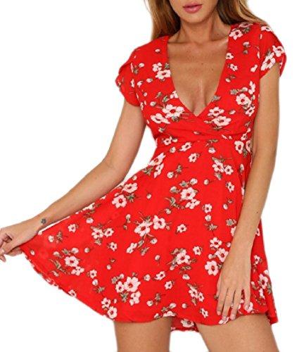 Coolred-femmes Floral Profond Col V À Manches Courtes À Taille Haute Robes De Soirée Rouge