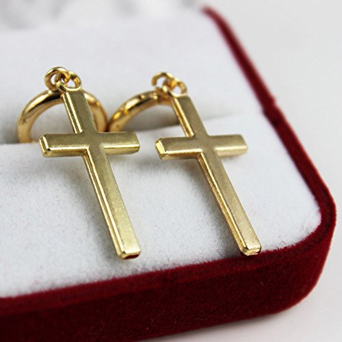 Connia Fashion Steel Cross Tragus Upper Ear Cartilage Earring Piercing for Gift Jewelry Dangler Eardrop (Gold) by Connia (Image #3)