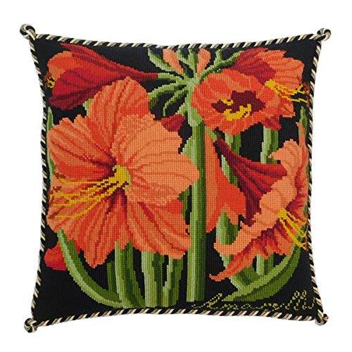 Amaryllis Needlepoint Tapestry Kit with Black background from Elizabeth Bradley premium English needlework pillow or rug project with 100% wool yarns. Botanical Garden Collection.