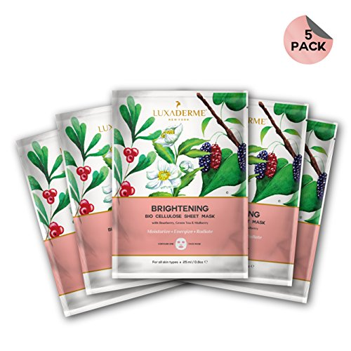 5 Sheets Essence Mask (LuxaDerme Brightening Bio Cellulose Face Sheet Mask (Pack Of 5) Infused With Essence Containing Arbutin, Niacinamide, Botanical Extracts & Antioxidants To Give An Instant Dose Of Radiance And Glow)