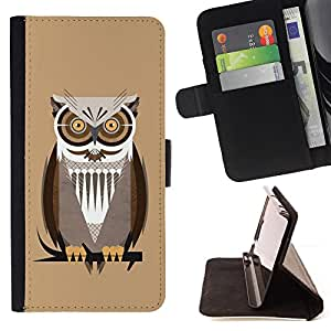 DEVIL CASE - FOR Apple Iphone 5 / 5S - Owl Brown Big Eyes Branch Tree Bird Forest - Style PU Leather Case Wallet Flip Stand Flap Closure Cover