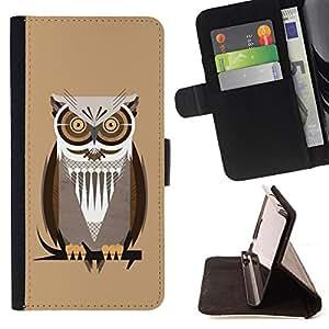BullDog Case - FOR/HTC One M7 / - / The Professor Night Owl /- Monedero de cuero de la PU Llevar cubierta de la caja con el ID Credit Card Slots Flip funda de cuer