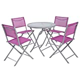 Giantex 5 PCS Bistro Set Garden 4 Folding Chairs Table Outdoor Patio Furniture (Rose Red)