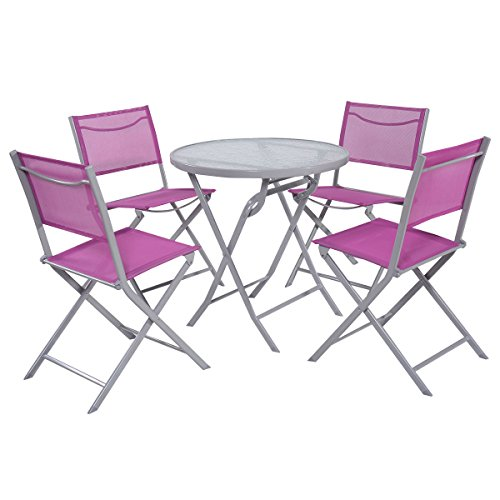 - Giantex 5 PCS Bistro Set Garden 4 Folding Chairs Table Outdoor Patio Furniture (Rose Red)