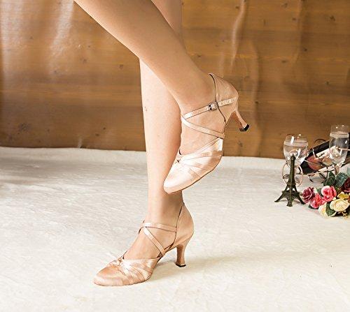 Minitoo femme Nœud ruban Satin Latin Chaussures de danse pour la cheville, Beige - beige, 35 EU