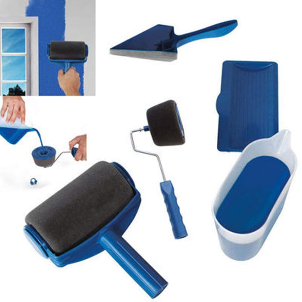 Vaughenda Paint Roller Brush Kits,5 Pcs DIY Roller Paint Brush Long Handle Tool Flocked Edger Wall Printing for Home Office