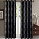 Lexington Black Grommet Jacquard Window Curtains Drapes, Pair / Set of 2 Panels, 52x84 inches Each, by Royal Hotel