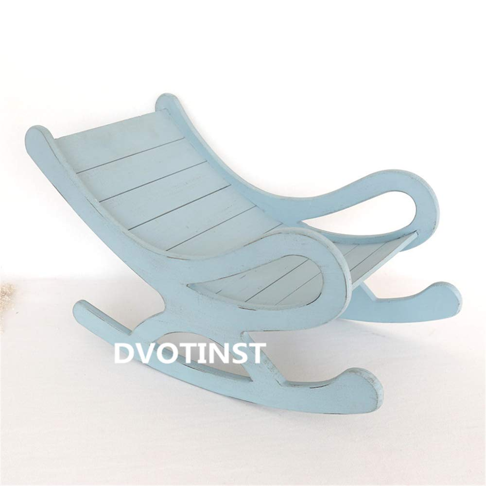 Dvotinst Baby Photography Props for Studio Shoots, Cute Wooden Posing Mini Bed Rocking Chair for Newborn Babies, Studio Accessories Photo Props (Blue)