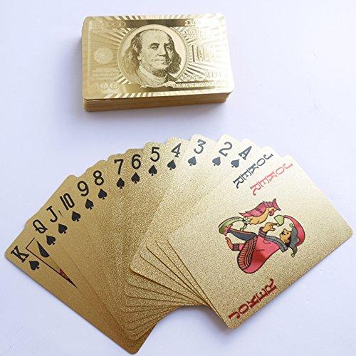 DMaos, Poker 24K Gold 54 Playing Cards Waterproof Joker Games King Big Two