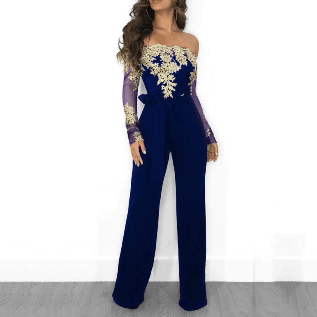 iQKA Women Off Shoulder Lace Up Jumpsuit Ladies Casual Long Sleeve Lace Playsuit Wide Leg Romper